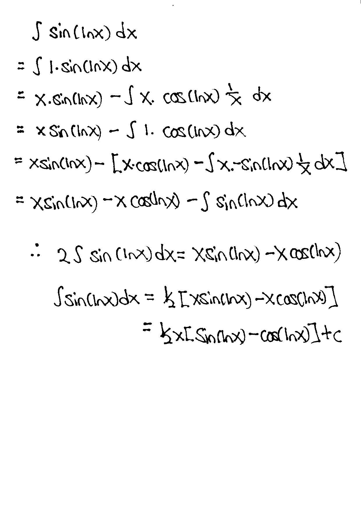 A-level Integration By Parts H2 Maths Tuition
