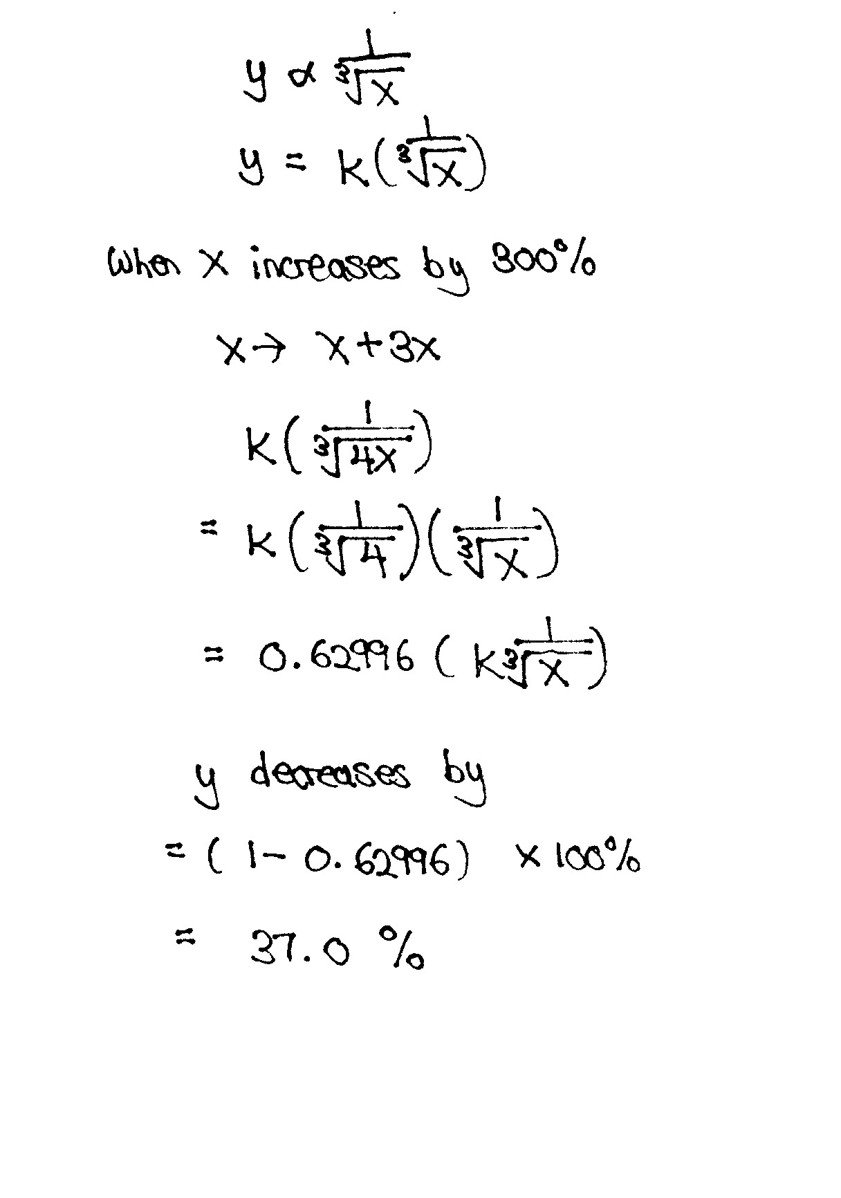 inverse proportion  percentage changes of y when x increases