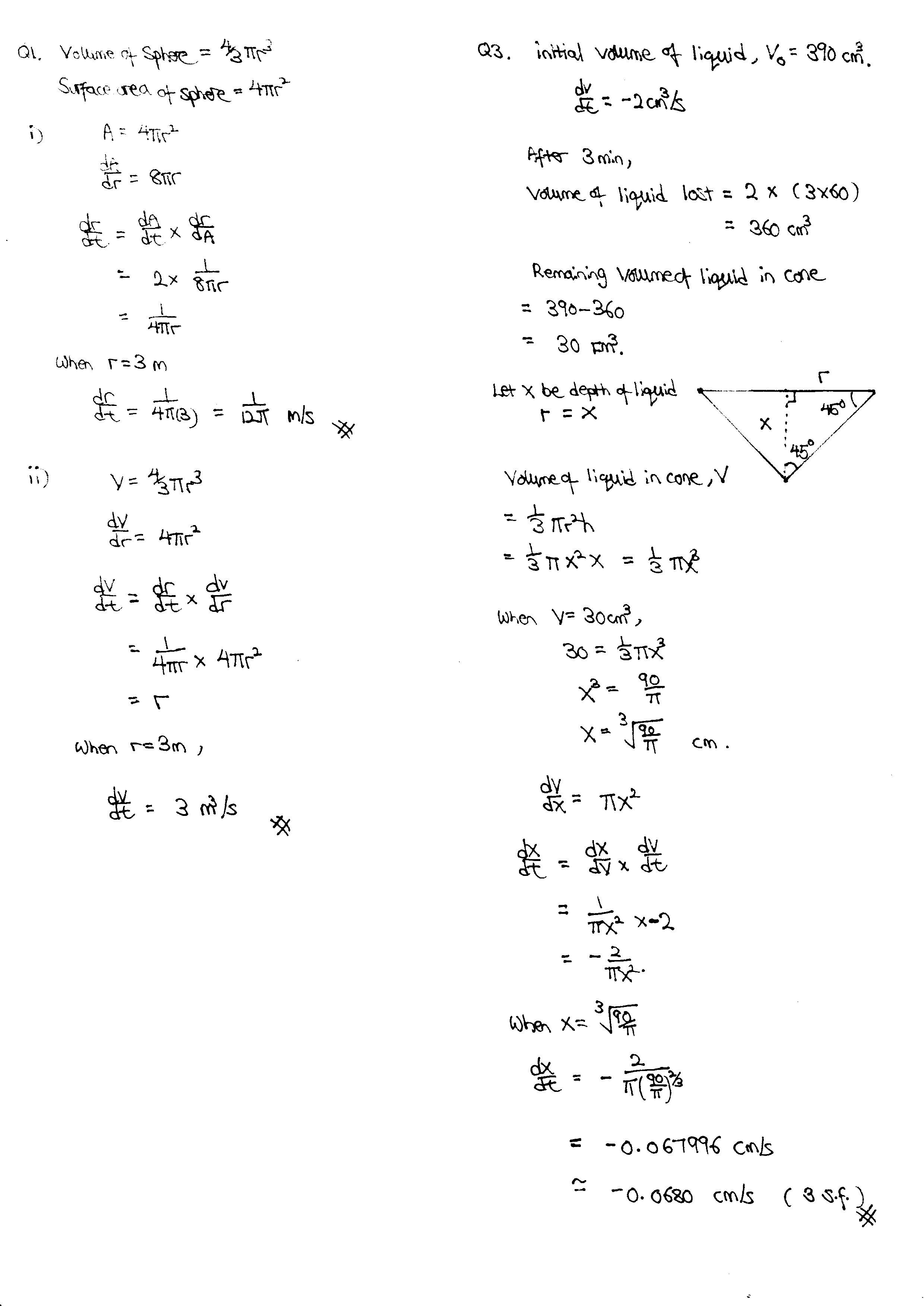 H2 Math Tuition June intensive revision topic, Application of Differentiation: Connected Rates of change Q1 & 3 solution.