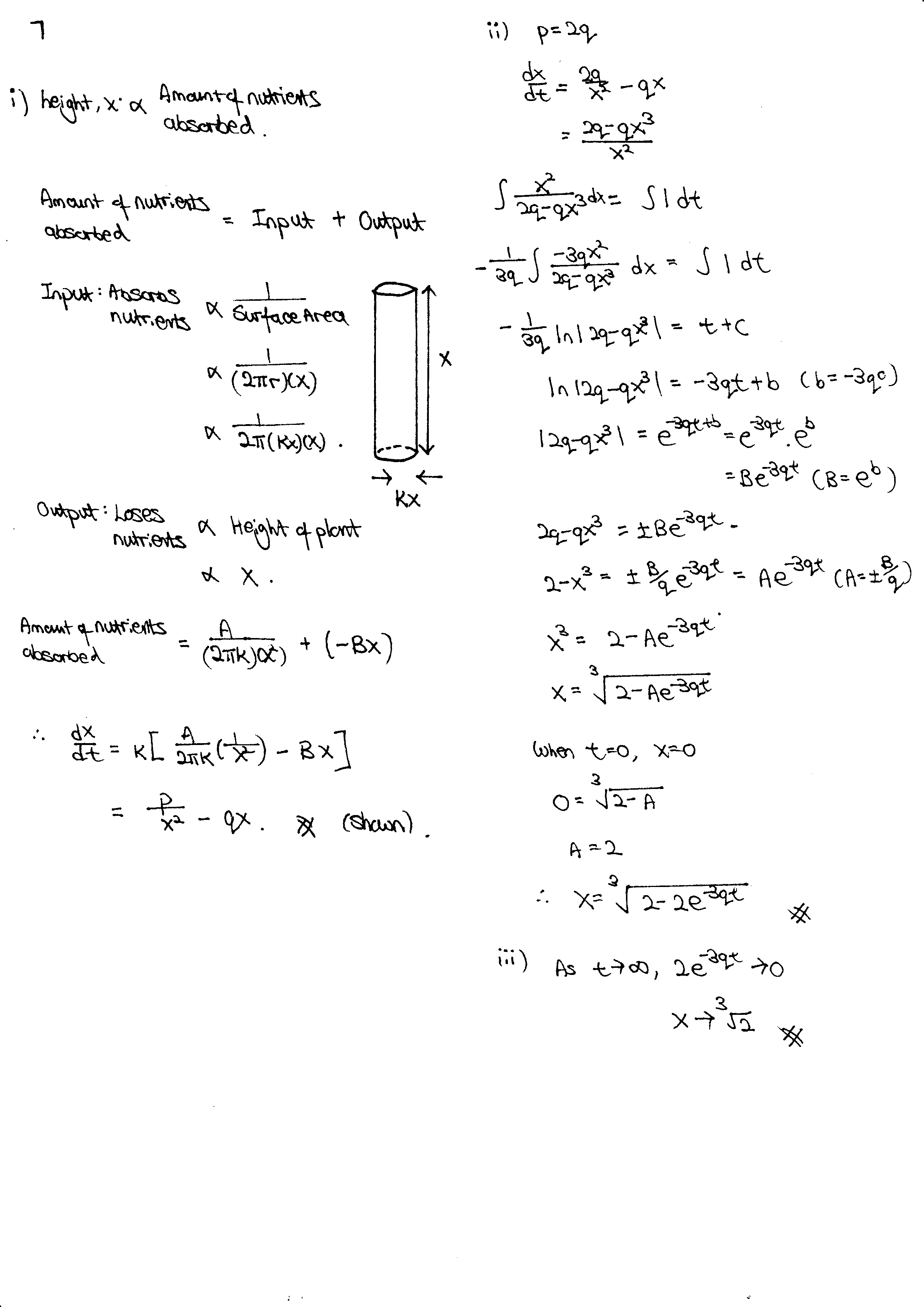 R5 Differential Equations Q8 Solutions JC Math Tuition