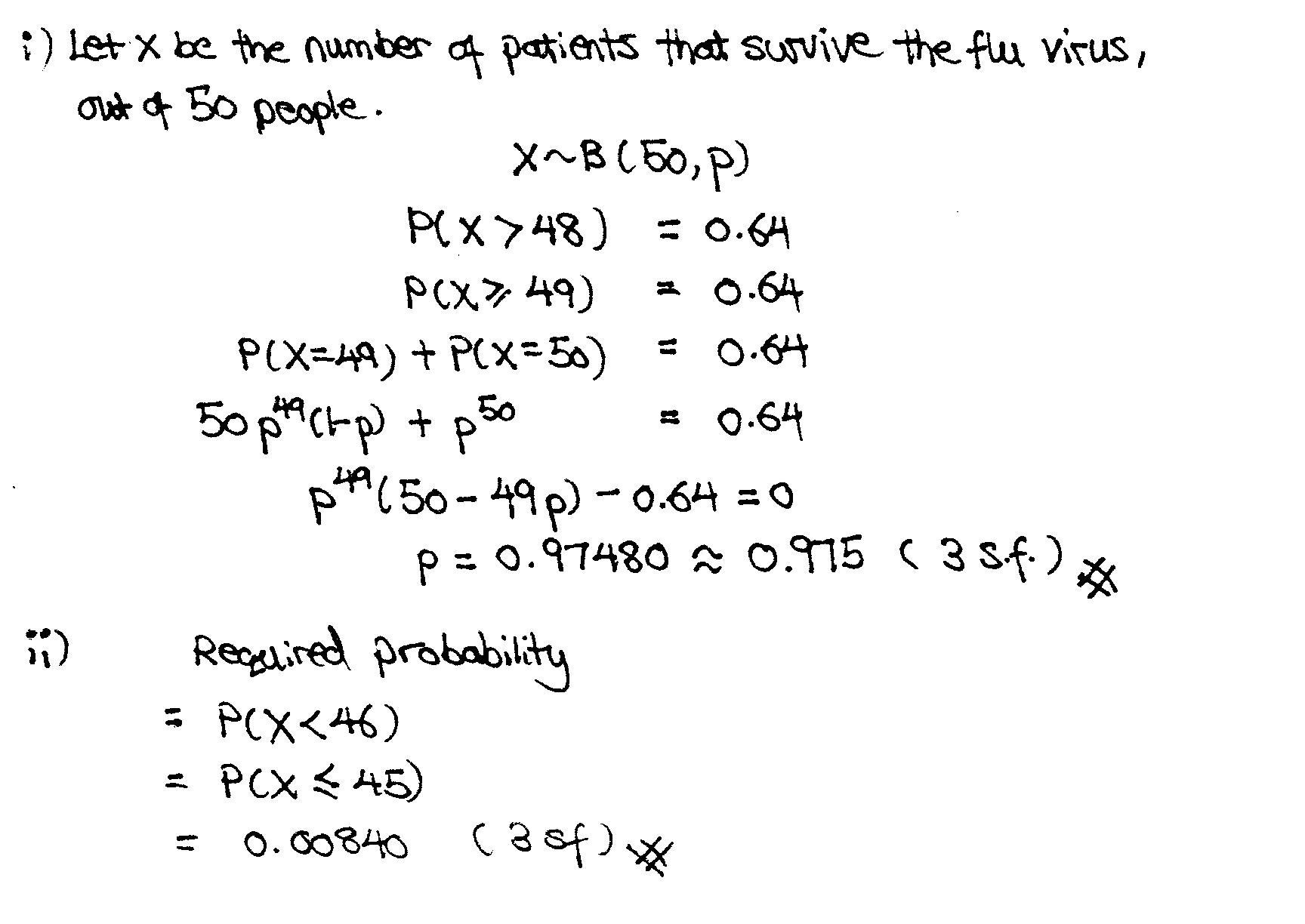 JC Math Specialist Binomial Distribution NYJC 2009 Prelim Solution